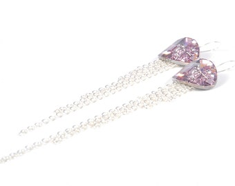 Swarovski Crystal Button Earrings, Pink Swarovski Crystal Earrings, Swarovski Earrings, Crystal Drop Earrings, Sparkly Crystal Long Earrings