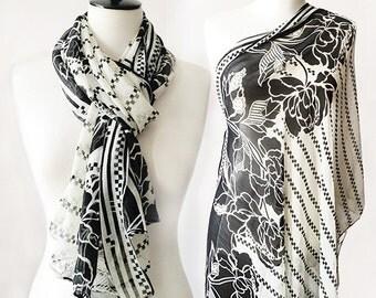Black & White Monochrome Floral Print Chiffon Shawl Scarf
