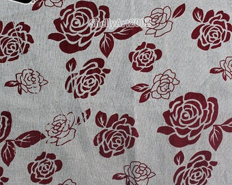 1M/Pack Vintage Style Rose Furniture Food Pattern Linen/Cotton Canvas Fabric Zakka Patchwork Fabric