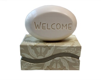 Soap Sentiments - Personalized Scented Soap Bar Engraved with Welcome