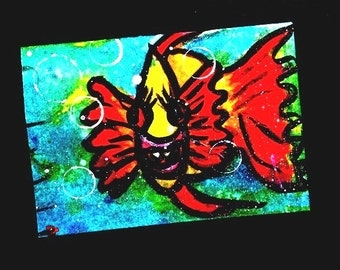 SALE Art ACEO Card original painting Fish aceo Underwater Series 1 Limited Edition 6 of 6 Christian Art cast FREE shipping artbyevelynmarie