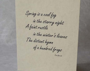 Spring Poem Note Cards, Set of 3 blank greeting card