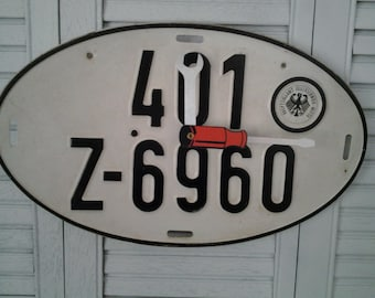 Vintage German Oval License Plate Clock, Great For The Man Cave or Garage. Last one !
