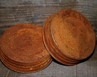 "2 Rusty Lids for WIDE Mouth Mason Jars .. 3-1/2"" opening ..  primitive rusty tin lid"