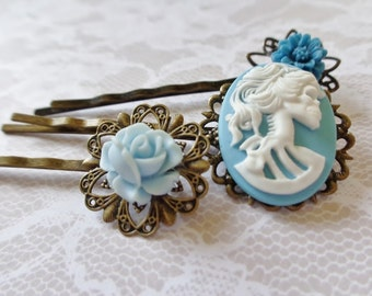 Baby Blue And White She Skull and Flower Hair Clips