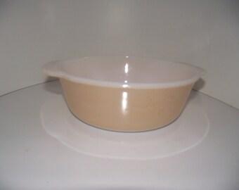 Vintage Fire king peach lustre casserole bowl