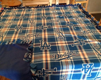 Hand tied, plaid Los Angeles Dodgers blanket