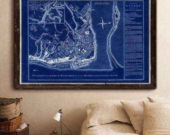 "Map of Quebec 1758, Old Quebec City map in 3 sizes up to 36x24"" (90x60 cm) also in blue. Quebec City, Canada - Limited Edition of 100"
