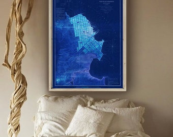"San Francisco Map 1853, San Francisco Bay area map 20x27"" (50x70 cm) or 27x40"" (70x100 cm) old map also in blue - Limited Edition of 100"