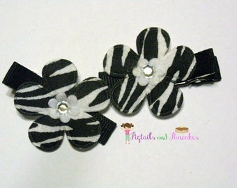 Set of Zebra Print Hair Clips