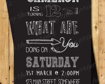 Chalkboard Style Birthday Invitations - Blackboard