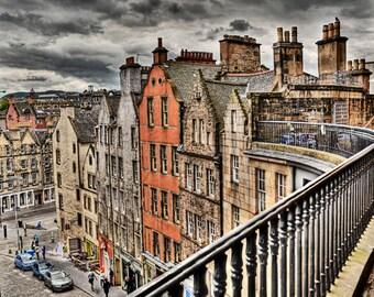 Grassmarket view from Victoria Street, Edinburgh print Scotland, architecture photo