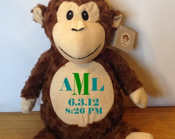Personalized Embroidered Monkey - Baby Gift