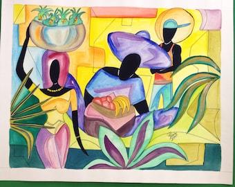 "Jamaica original watercolor ""Market"". 14""x18"""