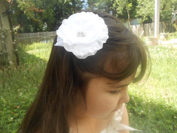 White silk flower Baby Headband, Newborn Headband,  Infant Headband,Baby Headband, Headband Baby, Baby Headband, baptism  headband