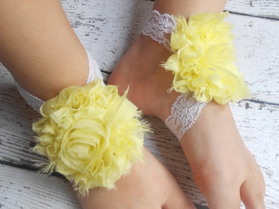 Yellow Flower  Baby Barefoot Sandals ,Shabby Flowers with Elastic , Toddler Sandals ,Newborn Sandals ,Baby Flower Sandals