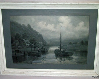 p7084: Vintage Oil Painting Andrew Beer (b.1894)  Maritime Boats Antique Seascape Original Black White Gray at Vintageway Furniture