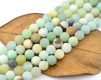 16 INCH Matte Amazonite Beads Gemstone Beads  Round