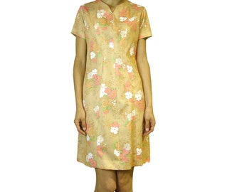 Beautiful 70s beige dress with flowers.