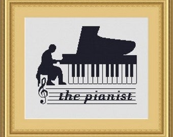 THE PIANIST/ pianiste point de croix -Counted cross stitch pattern /grille point de croix,Cross Stitch PDF, Instant download , free shipping