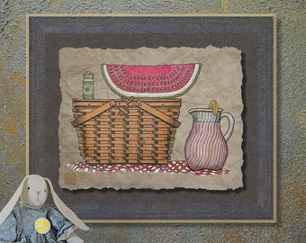 Nostalgic Picnic Basket Melon Art Whimsical yesteryear print adds happy basket picnic art to basket wall decor as 8x10 or 13x19 art print