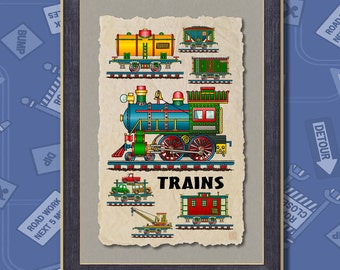 Toy Train Steam Engine Railroad Poster Room Decor 13x19 railroad wall decor