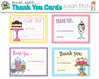 Fill-in-the-blank THANK YOU CARDS