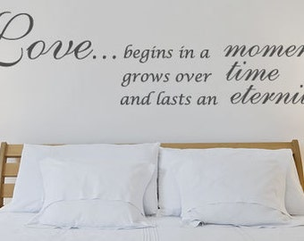 Wall Decal Love Begins In A Moment Bedroom Wall Sticker Wedding Gift Romance Living Room Lounge Dining Room Kitchen