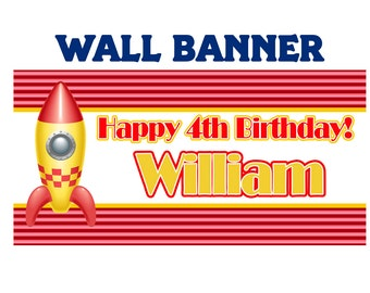 Happy Birthday Banner Rocket ~ Personalize Outer Space Party Banners Indoor or Outdoor