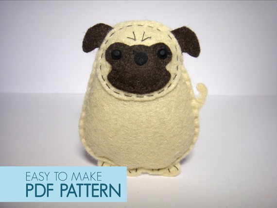 Easy To Sew Felt Pdf Pattern Diy Harold The Pug Finger
