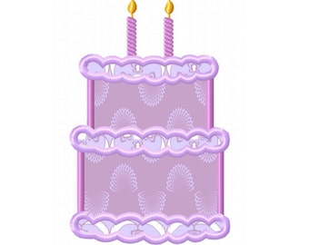 2nd Birthday Cake  Applique Machine Embroidery DESIGN NO. 302