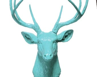 Blue Deer Head Mount Wall Statue. Faux Taxidermy Fake Deer Head.