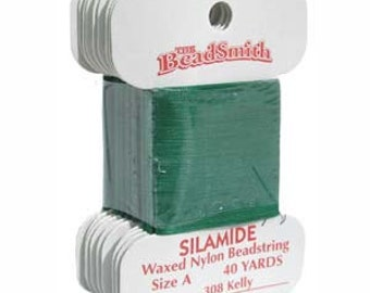 SILAMIDE Beading Thread - Size A - Kelly Green