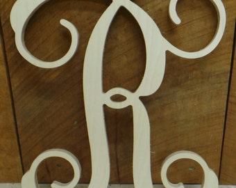 18 wooden letter unpainted vine script initial door hanger wall hanging wedding decor
