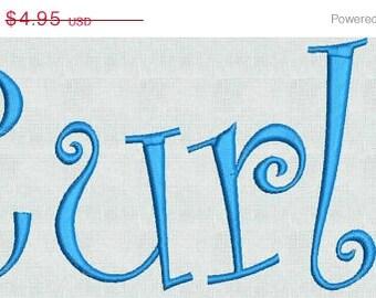 Instant Download Embroidery Machine Designs Curlz Fun Font Monogram Alphabet   1 2 3 inches  PES Format