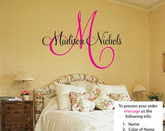 Childrens Decor Baby Nursery Wall Decal - Monogram Vinyl Wall Lettering Art Decal - Madison Name FREE SHIPPING