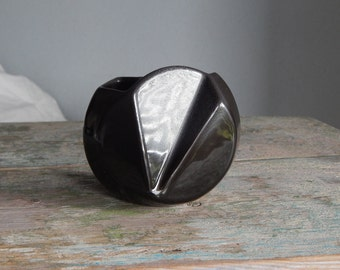 Black & Gray Ceramic Vase Made in USSR Russian Design Multifaceted Multiplex Black Glaze