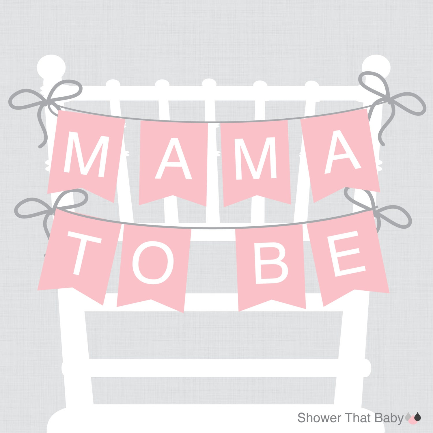Pink Baby Shower Chair Banner Mama To Be Mom To Be