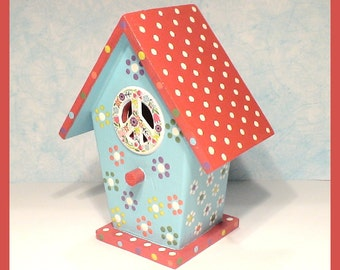 "Hippie Birdhouse - Hand-painted Red and Aqua - ""Flower Power"""