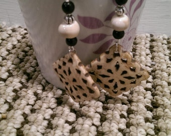 Black and Off White Dangle Earrings
