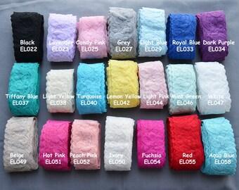 """5 Yards Elastic Lace 1.5"""" Stretch Lace FREE Shipping Over 20 Dollar Elastic Lace Trim Elastic Headband  Garter DIY EL998"""