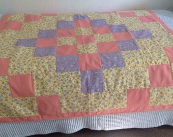Pretty patchwork throw made from vintage fabric with ballerina pattern.