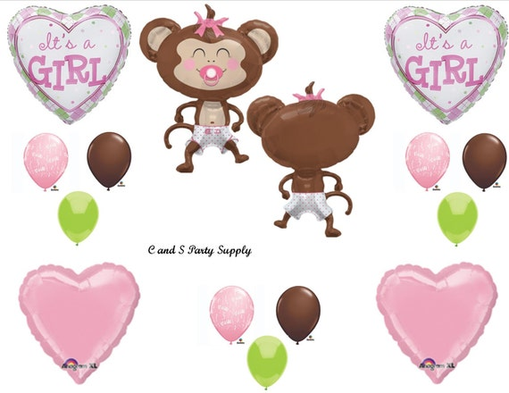 Baby girl monkey shower balloons decorations supplies jungle - Monkey balloons for baby shower ...