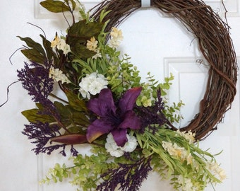 Summer Wreath, Spring Wreath, Wildflower Wreath, Purple Lily Flowers Wreath,Door Wreath