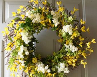 Spring Everyday Wreath, Summer Wreath, Green Yellow Wreath, Yellow Forsythia Wreath, Rustic Wreath