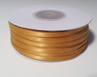 "1/8"" Antique Gold Double Face Satin Ribbon - 100 Yards"