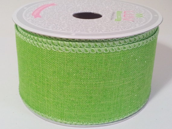Sparkling Canvas Ribbon Apple Green 10 Yards by StarbowDreams