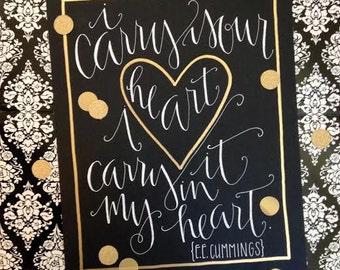 "e.e. cummings ""I Carry Your Heart"" Print"