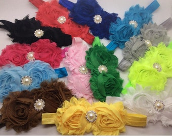 U Pick Wholesales Shabby Flower Headband Baby Headbands. Pearl Headband Vintage Newborns Headbands. Girl's Headband YTH14