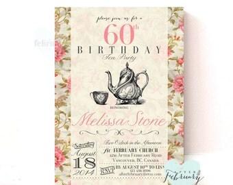 Adult Birthday Tea Party Invitation - Milestone Invitation - Vintage Floral Background - Vintage Tea Party - Printable No.240